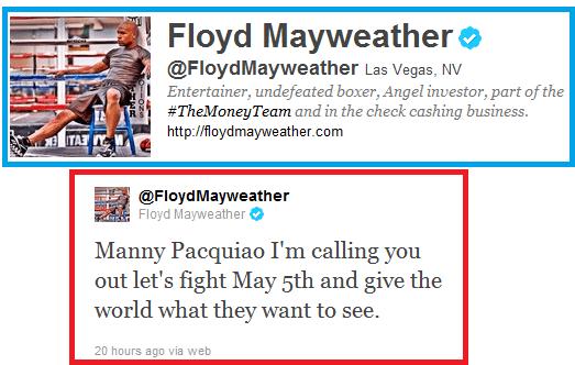 Mayweather Tweet to Pacquiao