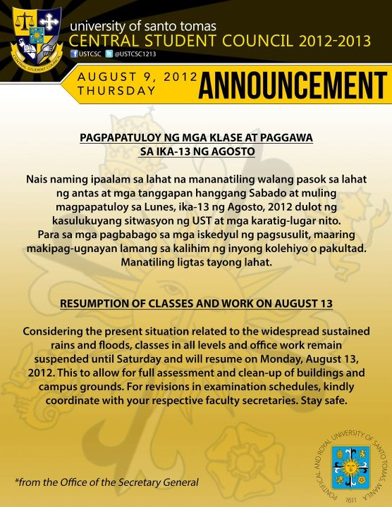 UST Classes Resume August 13 2012
